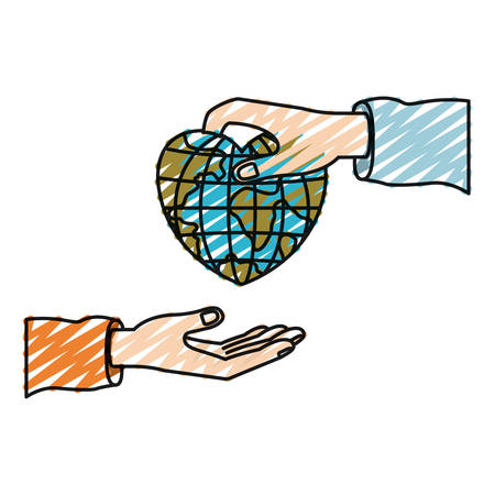 color crayon silhouette palm human holding a earth globe world in heart shape to deposit in other hand vector illustration