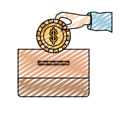 humanitarian: color crayon silhouette front view hand with flat coin with dollar symbol depositing in a carton box vector illustration