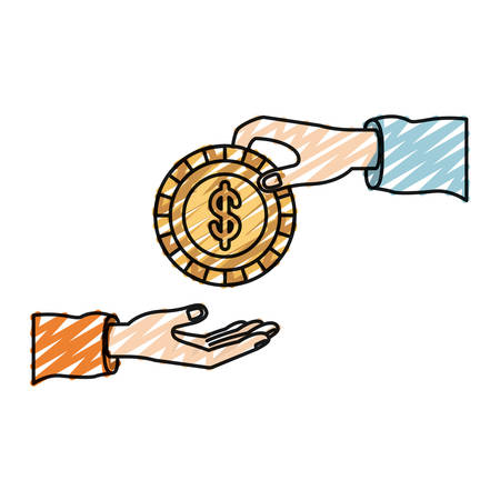color crayon silhouette palm human holding a coin with dollar symbol inside to deposit in other hand vector illustration