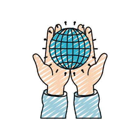 color crayon silhouette front view of hands holding in palms a globe chart with lines vector illustration
