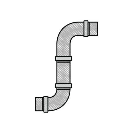 drops of water: color crayon silhouette of drain pipe vector illustration