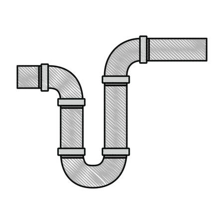 siphon: color crayon silhouette of drain pipe siphon vector illustration Illustration