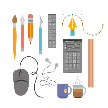 colorful background instruments to hand and multimedia design vector illustration