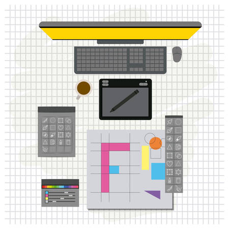 grid background with design environment with color palette and tool box with desktop computer vector illustration 版權商用圖片 - 80346637