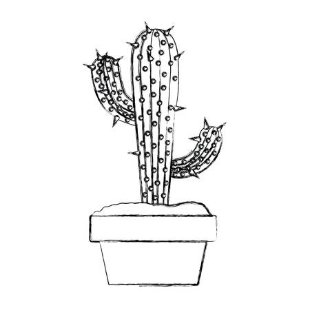 blurred silhouette cactus with two branches in pot vector illustration