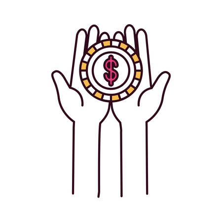 silhouette color sections front view hands holding in palms a coin with dollar symbol vector illustration