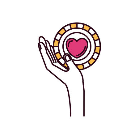 give: silhouette color sections side view hand holding in palm a coin with heart shape inside charity symbol vector illustration Illustration