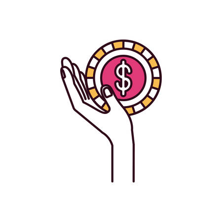 give: silhouette color sections side view hand holding in palm a coin with dollar symbol inside vector illustration