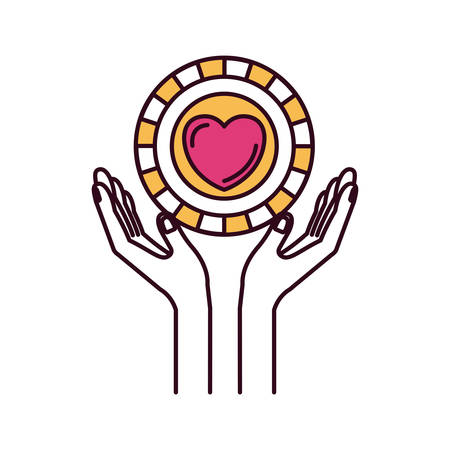 silhouette color sections hands with floating coin with heart shape inside charity symbol vector illustration Illustration