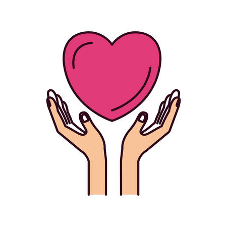 give: silhouette color sections hands with floating heart charity symbol vector illustration