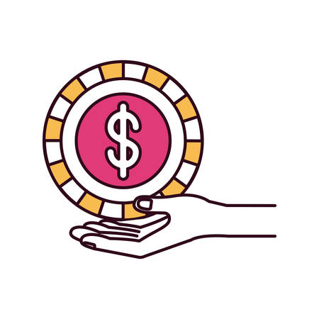 assisting: silhouette color sections hand palm giving a coin with dollar symbol vector illustration