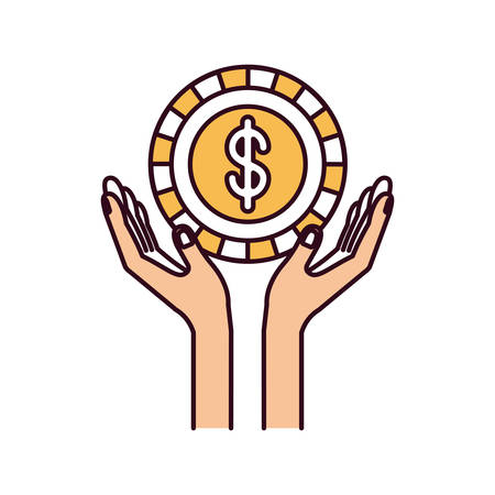 silhouette color sections hands with floating coin with dollar symbol inside vector illustration