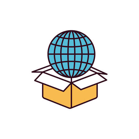 sketch out: silhouette color sections globe earth world chart coming out of cardboard box vector illustration