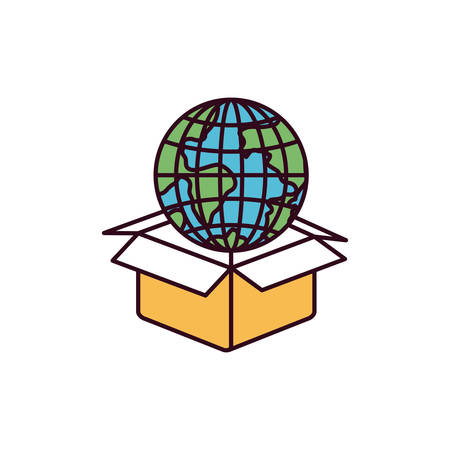 give out: silhouette color sections globe earth world coming out of cardboard box vector illustration Illustration
