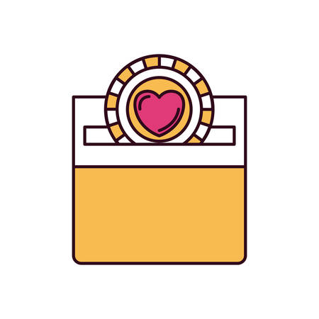 silhouette color sections front view flat coin with heart symbol inside depositing in a carton box vector illustration
