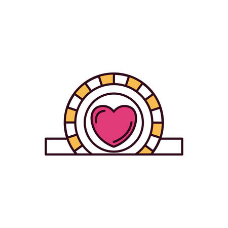 give: silhouette color sections closeup flat coin with heart symbol inside depositing in rectangular slot vector illustration