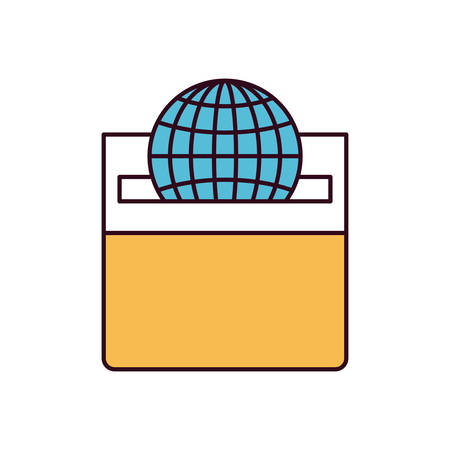 assisting: silhouette color sections front view flat globe earth world chart depositing in a carton box vector illustration