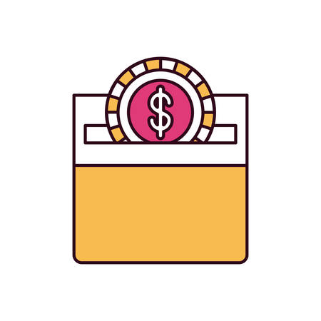 silhouette color sections front view flat coin with dollar symbol depositing in a carton box vector illustration