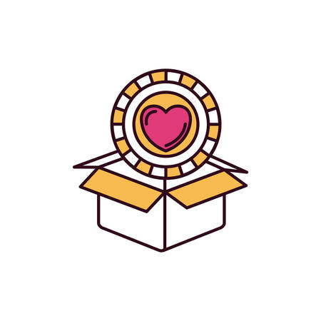 give out: silhouette color sections coin with heart shape inside coming out of cardboard box vector illustration Illustration