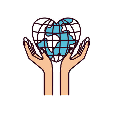 assisting: silhouette color sections hands with floating earth globe world in heart shape vector illustration