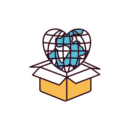 silhouette color sections globe earth world in heart shape coming out of cardboard box vector illustration