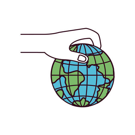 hand holding globe: silhouette color sections side view of hand holding a earth globe world charity symbol to deposit vector illustration