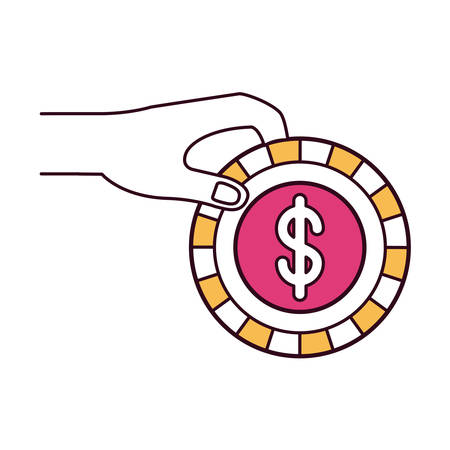 silhouette color sections side view of hand holding a coin with dollar symbol inside to deposit vector illustration Illustration