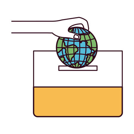 assisting: silhouette color sections front view hand with flat globe earth world depositing in a carton box vector illustration