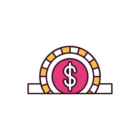 silhouette color sections closeup flat coin with dollar symbol depositing in rectangular slot vector illustration