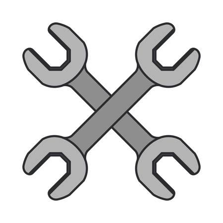 kleurenafbeelding van paar moersleutel tool gekruist vectorillustratie Stock Illustratie