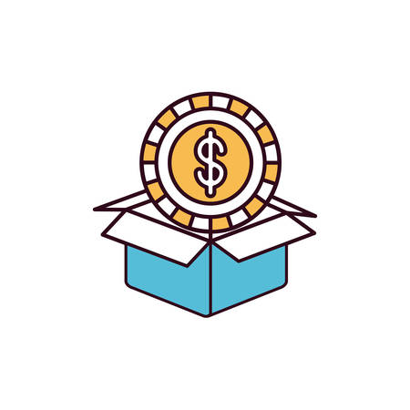 give out: silhouette color sections coin with dollar symbol inside coming out of cardboard box vector illustration