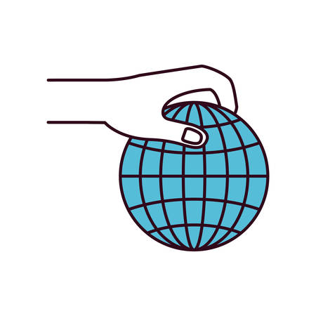 hand holding globe: silhouette color sections side view of hand holding a globe chart to deposit vector illustration Illustration