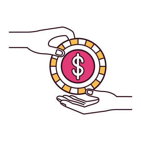 silhouette color sections side view of palm human holding a coin with dollar symbol inside to deposit in other hand vector illustration