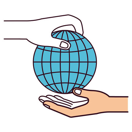 assisting: silhouette color sections side view of palm human holding a globe chart to deposit in other hand vector illustration Illustration