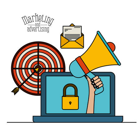 white background with colorful set laptop with megaphone and target for marketing and advertising vector illustration