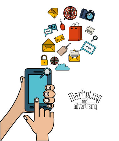 white background with people using a smartphone with elements web marketing and advertising vector illustration