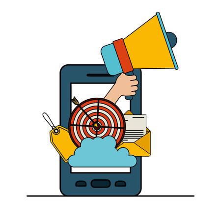 white background with colorful smartphone with set megaphone and strategy elements vector illustration