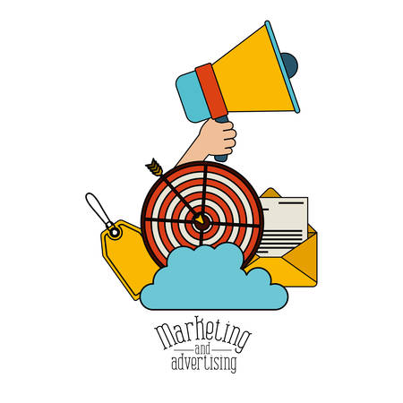 white background with colorful set megaphone and strategy elements marketing and advertising vector illustration
