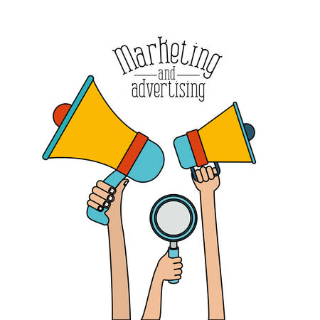 white background set colorful hands holding megaphones and loupe marketing and adversiting vector illustration Illustration