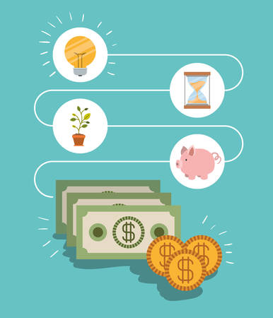 color background process for the generation of money vector illustration