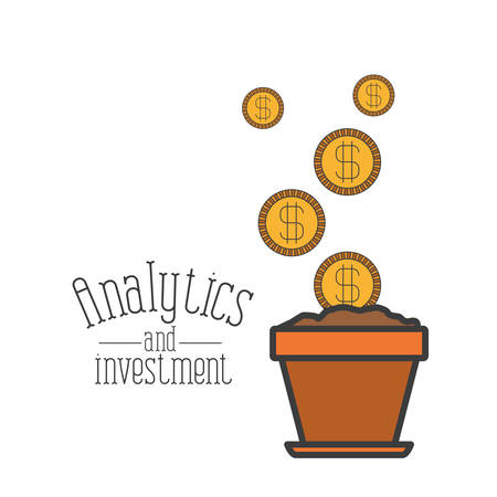 white background with colorful plantpot process increase economy with coins analytics and investment vector illustration