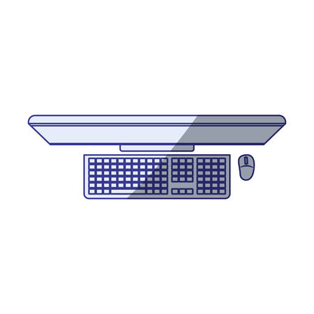 wireless connection: white background with blue shading silhouette of desktop computer in top view vector illustration