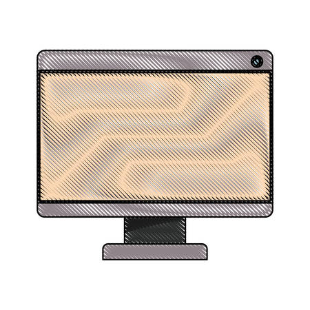 looking at computer screen: white background with colored crayon silhouette of lcd monitor vector illustration Illustration