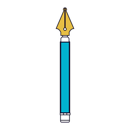 white background with color sections silhouette of fountain pen vector illustration
