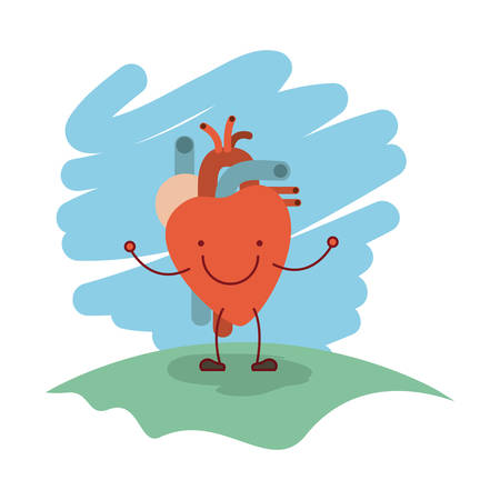 myocardium: colorful scene in grass with silhouette caricature happy face heart system human body vector illustration