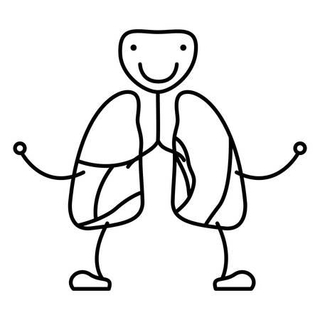 dibujo a mano contorno caricatura sistema respiratorio con ilustración de vector de tráquea