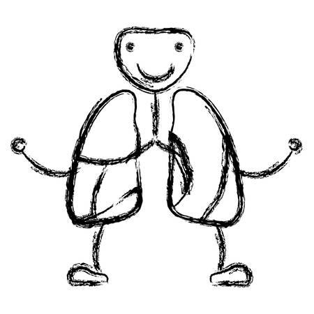 borroso dibujo contorno caricatura respiratorio sistema con windpipe ilustración vectorial