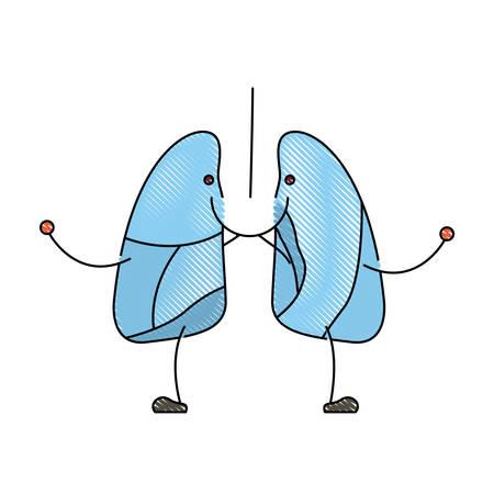 color crayon silueta caricatura con feliz rostro sistema respiratorio ilustración vectorial