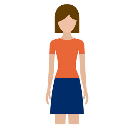 colorful silhouette faceless front view woman with skirt and short hair vector illustration