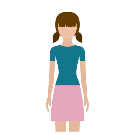 colorful silhouette faceless front view girl with skirt and short pigtails vector illustration Illustration